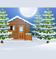 cartoon of christmas wooden house with fir trees vector image vector image