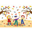 cheerful children playing outdoors in autumn park vector image vector image