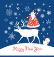 christmas card with santa claus on a deer vector image vector image