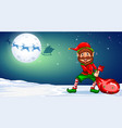 christmas elf in winternight background vector image