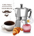 coffee and croissant realistic coffee vector image vector image