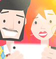 Dating Young Couple Taking a Selfie Photo vector image