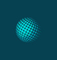dotted halftone sphere on plane blue background vector image
