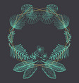 elegant green frame of tropical leaves and polygon vector image