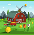 farm cartoon with tractor building and mountains vector image vector image