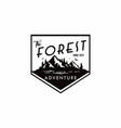 forest mountain adventure black and white badge vector image vector image