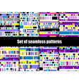 glitch seamless patterns signal error pixel vector image vector image