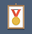 Golden Medal In A Picture Frame vector image vector image