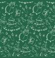 green pattern with hand drawn christmas elements vector image vector image