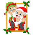 happy santa hold elf cartoon vector image vector image