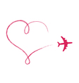 Heart shaped icon in air made by plane vector image