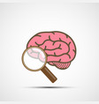 icon human brain and magnifying glass vector image