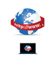 internet icon with globe vector image