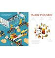 isometric modern industrial production composition vector image
