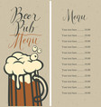 menu for pub with price list and glass of beer vector image