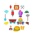 mining icons set cartoon style vector image vector image