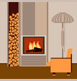 modern fireplace in the interior living room vector image vector image