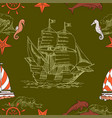 nautical seamless pattern with sailing vesselsand vector image vector image