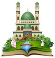 open book with happy muslim grandfather with his g vector image vector image