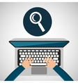 person working laptop search social media graphic vector image vector image
