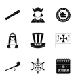 Pioneer icons set simple style vector image vector image