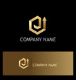 polygon gold arrow up logo vector image