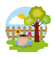 potted flower sack soil and shovel fence tree vector image