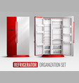refrigerator organization on transparent vector image vector image
