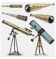 set astronomical instruments telescopes vector image