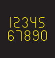 set numbers with yellow typography design vector image vector image