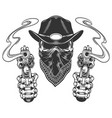 skull in cowboy hat and scarf vector image vector image