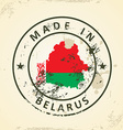 Stamp with map flag of Belarus vector image vector image