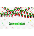 sudan garland flag with confetti on transparent vector image vector image