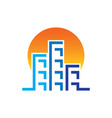 sunset skyscrapers building contruction logo vector image vector image