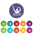 Swimmer in a swimming pool set icons vector image vector image