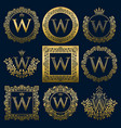 vintage monograms set of w letter vector image vector image