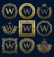 vintage monograms set of w letter vector image