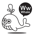 W Whale cartoon and alphabet for children to vector image vector image
