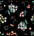 wild flower seamless pattern on dark background vector image vector image