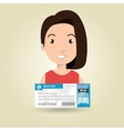 woman ticket travel icon vector image vector image