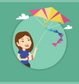 young woman flying kite vector image vector image