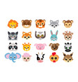 collection of different animal masks on faces vector image