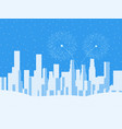 winter cityscape urban city with skyscrapers vector image
