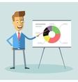 Handsome manager gives presentation shows diagram vector image