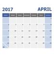 2017 April calendar week starts on Sunday vector image vector image