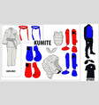 a set most necessary equipment for karate vector image