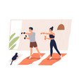 active couple doing exercise with dumbbells vector image