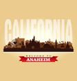 anaheim california city skyline silhouette vector image
