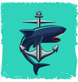 anchor and shark isolated cartoon vector image vector image