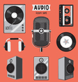 audio icon set vector image